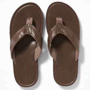 Tan Faux-Leather Flip-Flops for Men